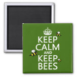 Keep Calm and Keep Bees - all colours Square Magnet