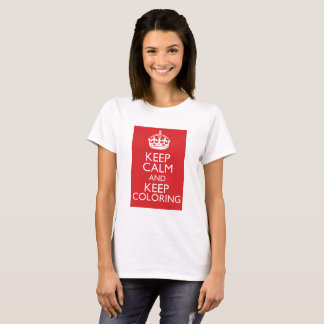 Keep Calm And Keep Coloring Tee - Red Background