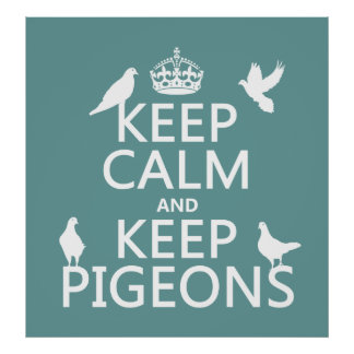 Keep Calm and Keep Pigeons - all colours Poster