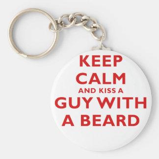Keep Calm and Kiss a Guy with a Beard Basic Round Button Keychain