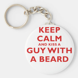 Keep Calm and Kiss a Guy with a Beard Keychain