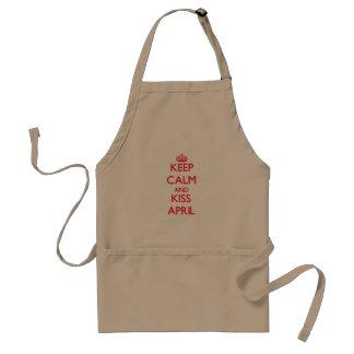 Keep Calm and kiss April Apron