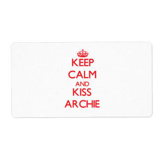 Keep Calm and Kiss Archie Personalized Shipping Labels