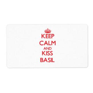 Keep Calm and Kiss Basil Shipping Labels