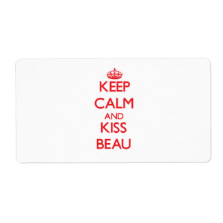 Keep Calm and Kiss Beau Personalized Shipping Labels