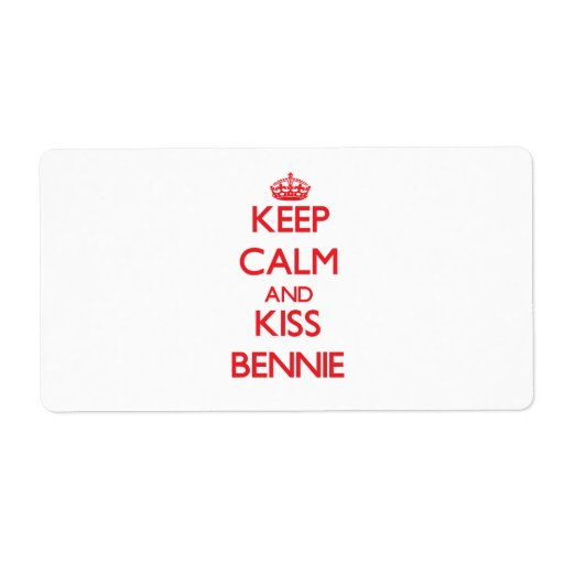 Keep Calm and Kiss Bennie Personalized Shipping Labels