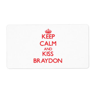 Keep Calm and Kiss Braydon Shipping Labels