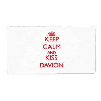Keep Calm and Kiss Davion Shipping Labels