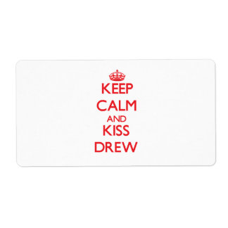 Keep Calm and Kiss Drew Personalized Shipping Label