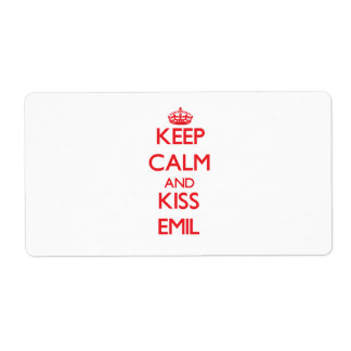 Keep Calm and Kiss Emil Custom Shipping Label