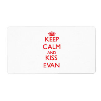 Keep Calm and Kiss Evan Shipping Labels