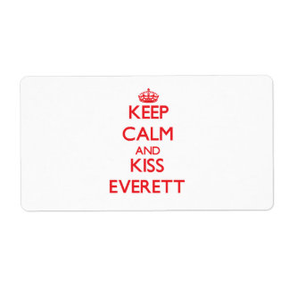 Keep Calm and Kiss Everett Shipping Label