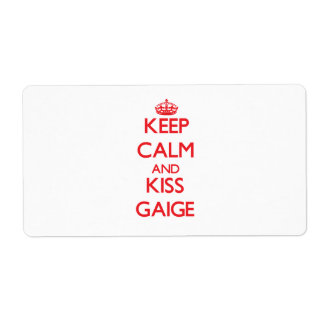 Keep Calm and Kiss Gaige Personalized Shipping Label