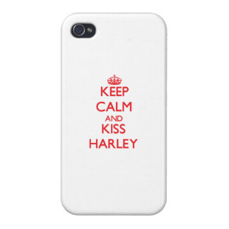 Keep Calm and kiss Harley iPhone 4 Cases
