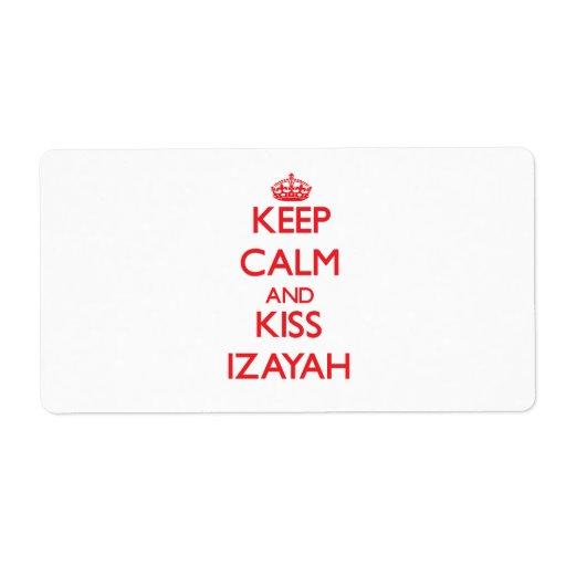Keep Calm and Kiss Izayah Labels
