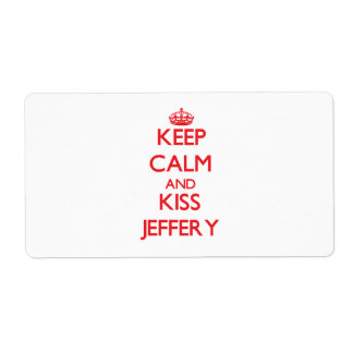 Keep Calm and Kiss Jeffery Personalized Shipping Label