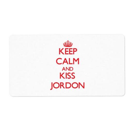Keep Calm and Kiss Jordon Shipping Label