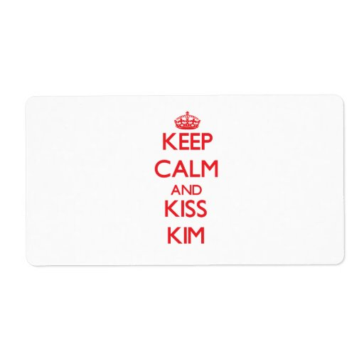 Keep Calm and Kiss Kim Personalized Shipping Label