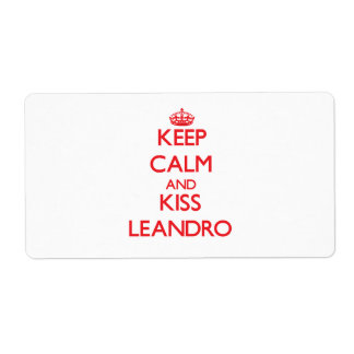 Keep Calm and Kiss Leandro Shipping Label