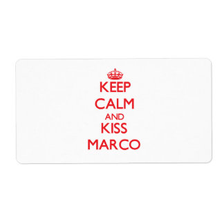 Keep Calm and Kiss Marco Custom Shipping Labels
