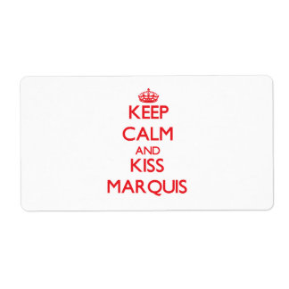 Keep Calm and Kiss Marquis Custom Shipping Labels