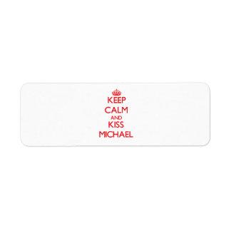 Keep Calm and Kiss Michael Custom Return Address Labels