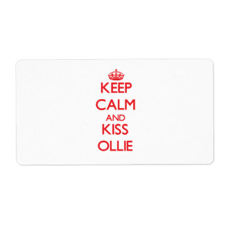 Keep Calm and Kiss Ollie Personalized Shipping Label