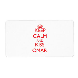 Keep Calm and Kiss Omar Personalized Shipping Label