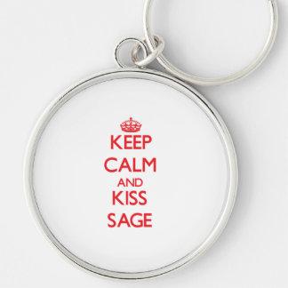 Keep Calm and kiss Sage Key Chain