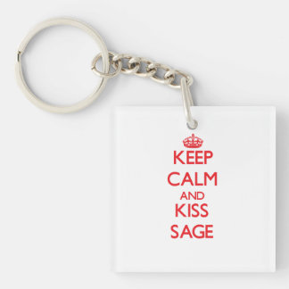 Keep Calm and kiss Sage Square Acrylic Keychains