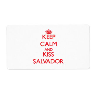 Keep Calm and Kiss Salvador Personalized Shipping Label