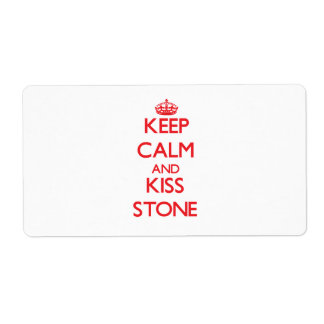 Keep Calm and Kiss Stone Shipping Labels
