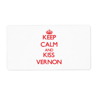 Keep Calm and Kiss Vernon Custom Shipping Labels