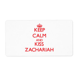 Keep Calm and Kiss Zachariah Shipping Label