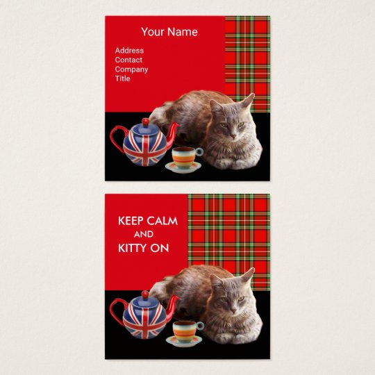 """KEEP CALM AND KITTY ON"" CAT TEA PARTY,RED TARTAN SQUARE BUSINESS CARD"