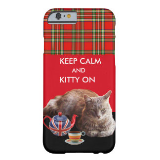 KEEP CALM AND KITTY ON ,RED TARTAN CAT TEA PARTY BARELY THERE iPhone 6 CASE
