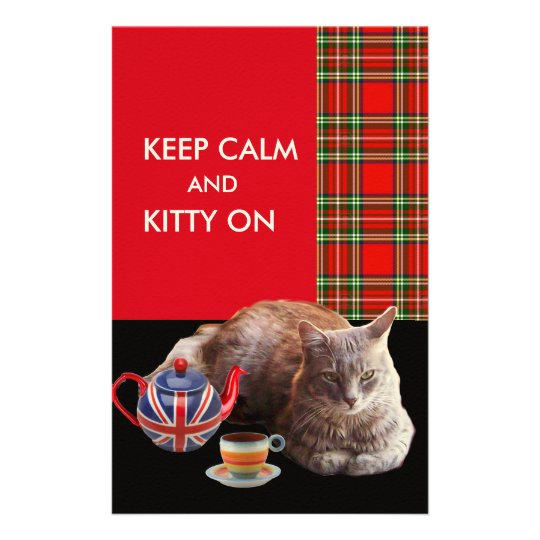 """KEEP CALM AND KITTY ON"" ,RED TARTAN,CAT TEA PARTY CUSTOM STATIONERY"