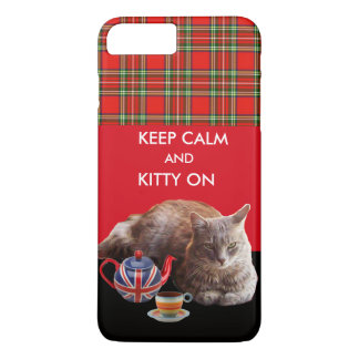 KEEP CALM AND KITTY ON ,RED TARTAN CAT TEA PARTY iPhone 8 PLUS/7 PLUS CASE