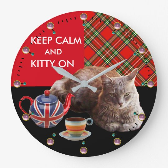 """""""KEEP CALM AND KITTY ON"""" ,RED TARTAN,CAT TEA PARTY LARGE CLOCK"""