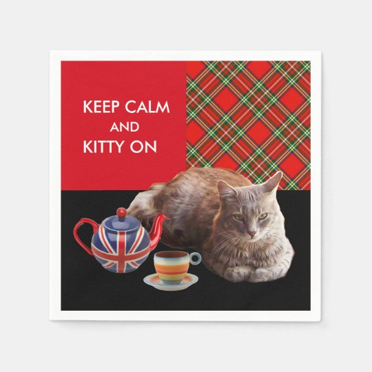 """KEEP CALM AND KITTY ON"" ,RED TARTAN,CAT TEA PARTY PAPER NAPKIN"