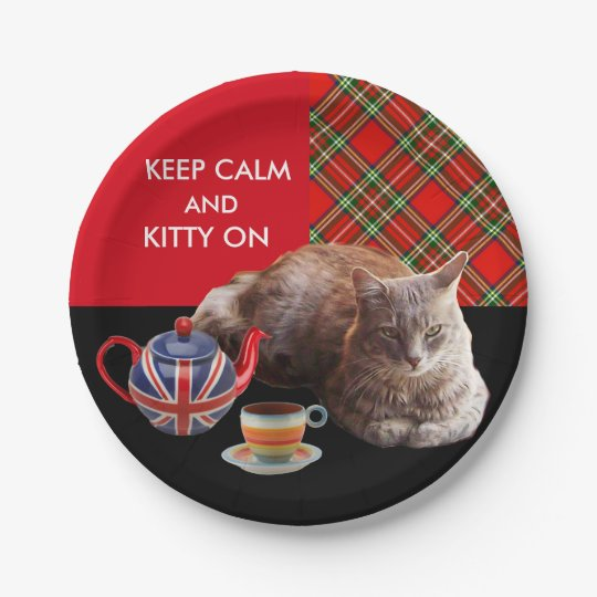 """""""KEEP CALM AND KITTY ON"""" ,RED TARTAN,CAT TEA PARTY PAPER PLATE"""