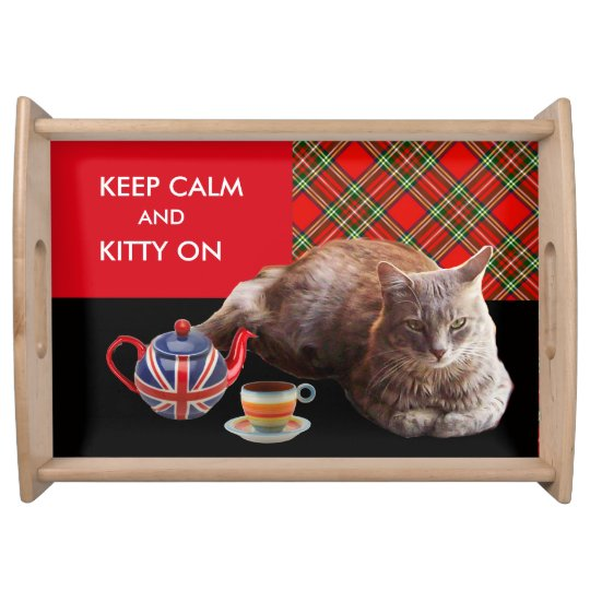 """""""KEEP CALM AND KITTY ON"""" ,RED TARTAN CAT TEA PARTY SERVING PLATTER"""