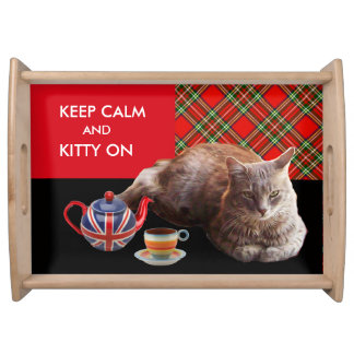 """""""KEEP CALM AND KITTY ON"""" ,RED TARTAN CAT TEA PARTY SERVING TRAY"""