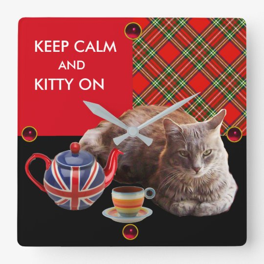KEEP CALM AND KITTY ON ,RED TARTAN CAT TEA PARTY SQUARE WALL CLOCK