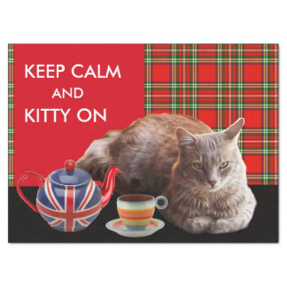 """""""KEEP CALM AND KITTY ON"""" ,RED TARTAN,CAT TEA PARTY TISSUE PAPER"""
