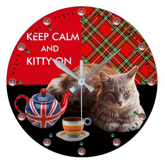 """KEEP CALM AND KITTY ON"" ,RED TARTAN,CAT TEA PARTY WALLCLOCKS"