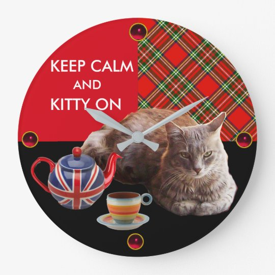 KEEP CALM AND KITTY ON ,RED TARTAN TEA PARTY LARGE CLOCK