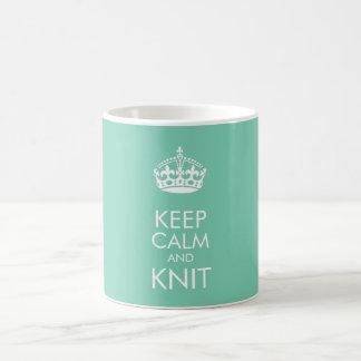 Keep calm and knit - customise text and colour coffee mug