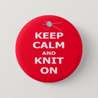 Keep calm and knit on 2 inch round button