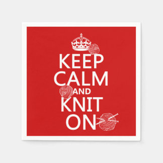 Keep Calm and Knit On - all colors Paper Napkins
